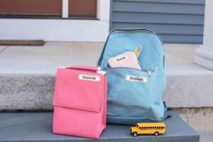 Name Bubbles Labels on backpack and lunch bag